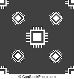 Central Processing Unit Icon. Technology scheme circle symbol. Seamless pattern on a gray background.