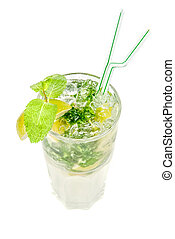 mojito alcohol fresh cocktail isolated on a white