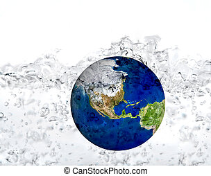 earth in water dropped isolated on a white. inundation...