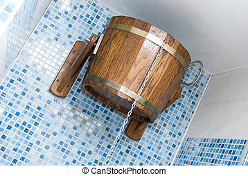 The sauna with bucket closeup