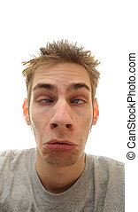 Droopy Face - A young adult man makes a silly droopy face...