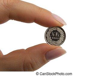 Suíço, franco,  centime, moeda