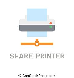 Net Share Printer Icon on White Background Vector...