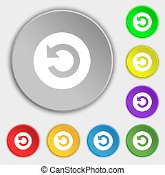 Upgrade, arrow icon sign Symbols on eight flat buttons...