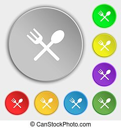 Fork and spoon crosswise, Cutlery, Eat icon sign Symbols on...