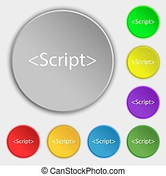 Script sign icon. Javascript code symbol. Symbols on eight...