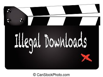 Illegal Downloads Clapperboard - A typical movie...