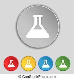 Conical Flask icon sign Symbol on five flat buttons...