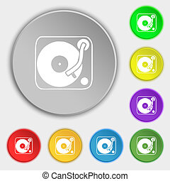 Gramophone, vinyl icon sign Symbol on five flat buttons...