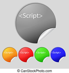 Script sign icon Javascript code symbol Set of colored...