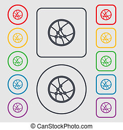 Basketball icon sign. Symbols on the Round and square buttons with frame.