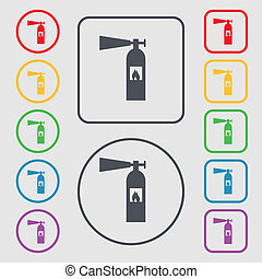 fire extinguisher icon sign. symbol on the Round and square buttons with frame.