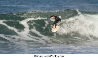surfing wave - good surfer riding wave