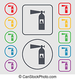 fire extinguisher icon sign. Symbols on the Round and square buttons with frame.