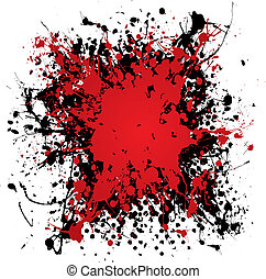 ink blood splat grunge - Blood red ink splat with black...