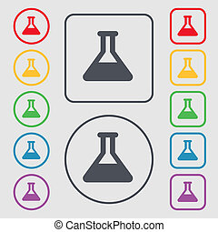 Conical Flask icon sign symbol on the Round and square...