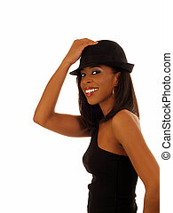 Young skinny smiling black woman in hat