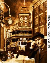 Vintage Time - Retro Clocks Tick On Old Vintage Street As...
