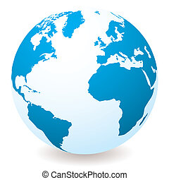 light blue globe - Blue and white earth globe with drop...