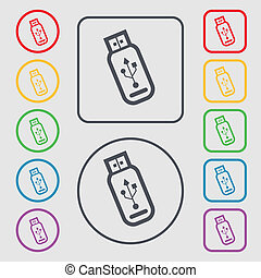 Usb flash drive icon sign. symbol on the Round and square buttons with frame.