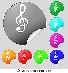 treble clef icon. Set of eight multi colored round buttons,...