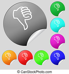 Dislike sign icon Thumb down Hand finger down symbol Set of...