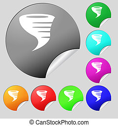 Tornado icon Set of eight multi colored round buttons,...