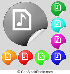 Audio, MP3 file icon sign Set of eight multi-colored round...