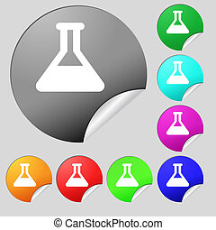 Conical Flask icon sign Set of eight multi-colored round...