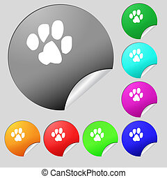 trace dogs icon sign. Set of eight multi colored round buttons, stickers.