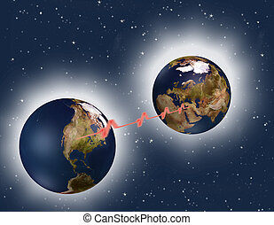 Tachycardia - two different positions of the earth against a...
