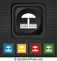 Sandbox icon sign symbol Squared colourful buttons on black...