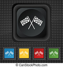 Race Flag Finish icon sign symbol Squared colourful buttons...