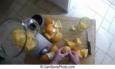 Making a smoothie - Point of view video of a man preparing a...