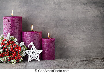 Candle, christmas lights, decors and ornament - Three purple...