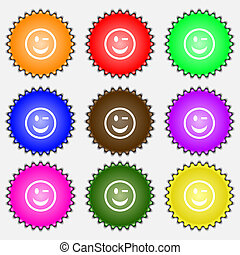 Winking Face icon sign. A set of nine different colored labels.
