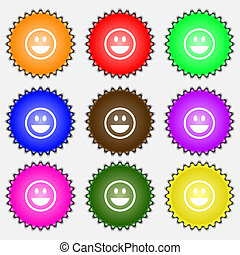 funny Face icon sign. A set of nine different colored labels.