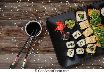 Various of sushi rolls