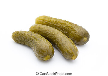 Pickled cucumbers isolated on white background. - Marinated...