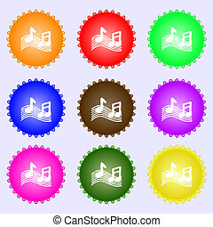 musical note, music, ringtone icon sign. A set of nine...