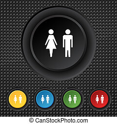 WC sign icon. Toilet symbol. Male and Female toilet. Set...