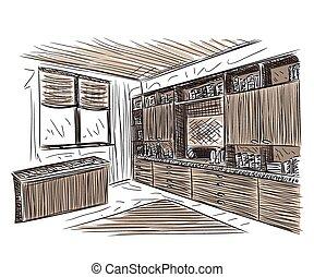 Room interior sketch