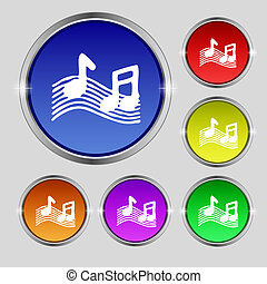 musical note, music, ringtone icon sign. Round symbol on...