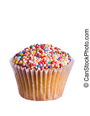 Cupcake decorated with colored sugar sprinkles