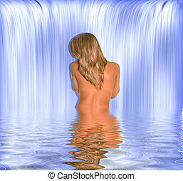 woman Lake - young woman near a waterfall bathing