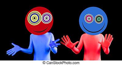 alien rave dancer - two alien rave dancers with crazy eyes