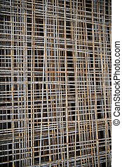 close up of rusty carcass grid - building, construction and...