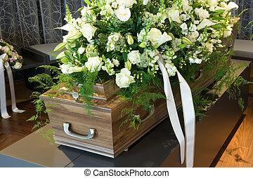 cercueil, dans, morgue,