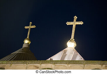 Two crosses on church