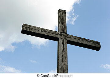 Croos of wood - Wooden cross made of wood against the sky